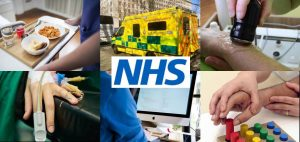 Collection of images about the NHS including an ambulance, people being treated for injury, a nurse typing on a computer.