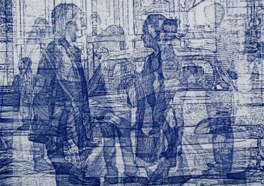 Image of a blue print example created by Intaglio Printmaking