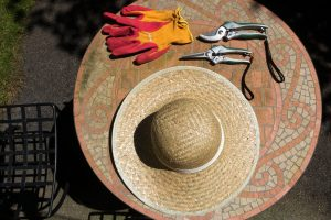 Image of a hat, gardening gloves and secateurs on top of a mosaic table